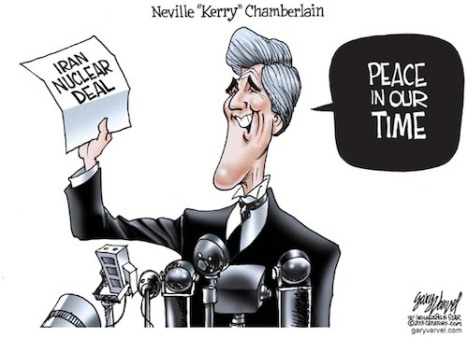 Cartoonist Gary Varvel: John Kerry as Neville Chamberlain